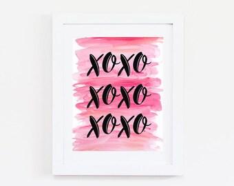 Bedroom Wall Art - XOXO Print - Girly Wall Art - XOXO Sign - Love Decor - Love Print - College Dorm Girl Decor Prints - College Dorm Decor
