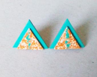 Geometric earrings Triangle earrings Minimalist earrings Simple earrings Bright earrings Stud earrings Everyday earrings