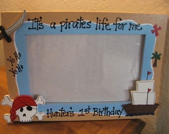 PIRATE AHOY MATEY personalized birthday boy photo picture frame