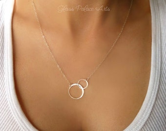 Eternity Necklace, Infinity Necklace Sterling Silver, Infinity Lariat, Gift For Girlfriend, Interlocking Double Circles, Women's Jewelry