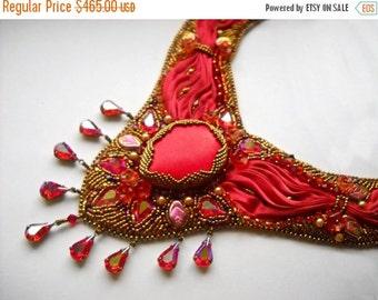 SALE 15% OFF Shibori Bead Embroidery statement necklace  - Pick Your Colour -  red wine gold - Bead Embroidered shibori silk ribbon
