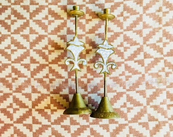 Brass Candlesticks with Mother-of-Pearl Inlay