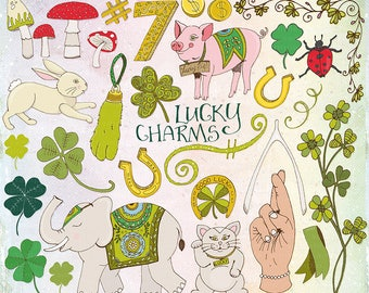 Irish Lucky Charm ClipArt, St Patrick's Day Clip Art, Good Luck Rabbit Foot, Lucky Pig & Elephant, Mushroom, Clover Illustration