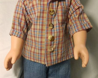 Boys cotton tan shirt with multi colors on it