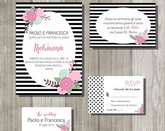 Printable wedding invitation, striped wedding suite, unique save the date card, wedding shower invitation