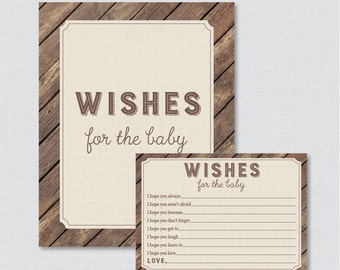 Rustic Wishes for Baby Baby Shower Activity - Printable Well Wishes for Baby Cards and Sign - Instant Download- Rustic Wood and Burlap 0034