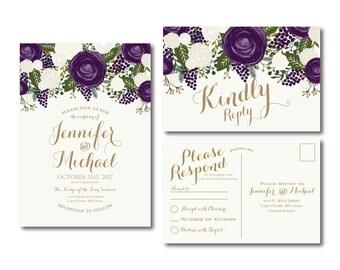 Vintage Wedding Invitation & RSVP Postcard Set - Fall Wedding - Vintage Floral - Floral Wedding - Vintage Wedding - Wedding Set #CL258