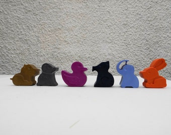 Animal Wax Crayons, Cat, Duck, Rabbit, Dog, Pig, Stocking Filler, Christmas Gift, Colouring in, Xmas present, Toddler, Girl, Boy