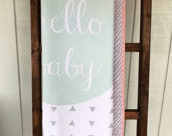 Hello Baby Modern Baby Quilt, Mint and Pink Baby Quilt, Chenille Quilt, Toddler Quilt, Baby Girl Quilt