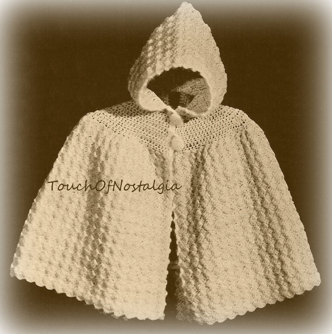 Crochet baby hooded cape vintage crochet pattern cuddly zoom bankloansurffo Image collections