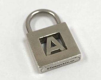 """Vintage Tiffany & Co. 925 Sterling Silver Letter """"A"""" Lock  Bracelet Charm!!! Free US Shipping"""