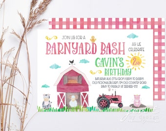 Farm Invitation   Farm Birthday   Farm Party   Farm Animals   Farm Invite   Barnyard Invitation   Farm Birthday Party   Birthday Invitation