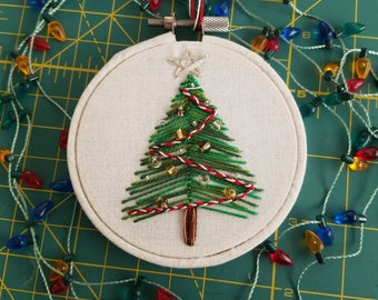 Hand Embroidered Embellished Christmas Tree Ornament