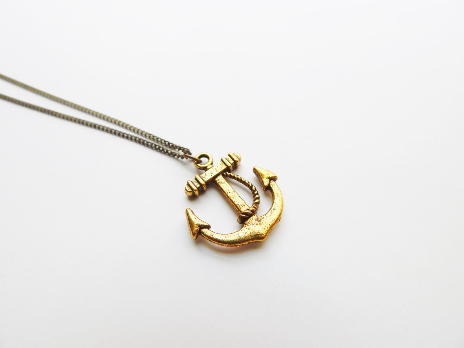 Small ANCHOR Necklace Antique Gold Long Layering Necklace