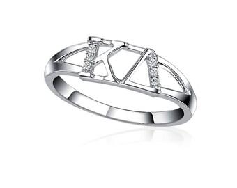 Kappa Delta Ring -  Horizontal Design Sterling Silver(KD-R001)