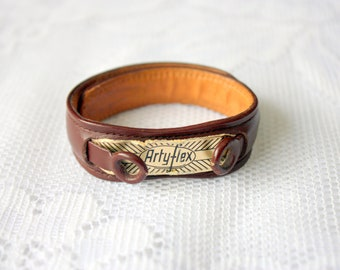 Vintage ARTYFLEX Vintage Cuff Watch Band, NOS Vintage Strap for Watch,Brown Leather watch strap, brown watch strap