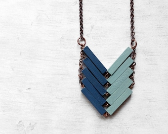 Wood Geometric Necklace // BEYOND THE SEA / Minimal Jewelry / Indigo / Blue Mint Hand-Painted Necklace / Modern Necklaces / Chevron Necklace