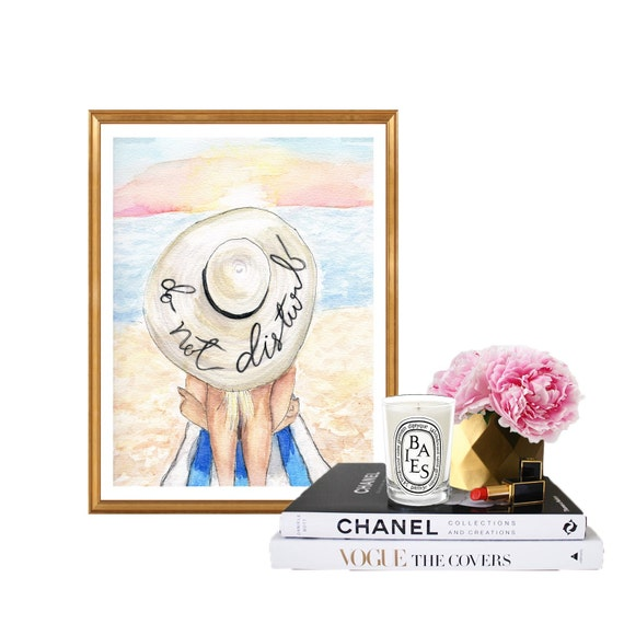 Do not Disturb, print of original beach themed summer watercolor, Fashion art, summar art beach art beach babe
