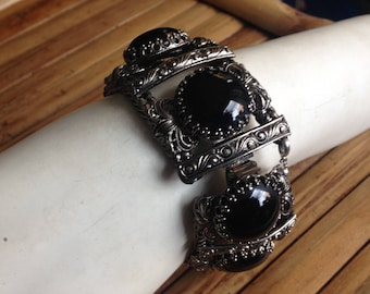 Gothic Sterling Silver and Black Glass Bracelet