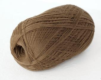 lace knitting yarn, Cobweb  light brown color wool yarn - haapsalu shawl yarn
