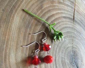 Red & Peach Handmade Beaded Dangle Earrings