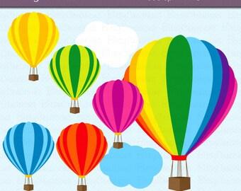 Hot Air Balloon Digital Art Set Clipart Commercial Use Clip Art INSTANT DOWNLOAD Hot Air Balloon Clipart