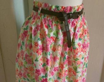SALE Women's/ junior's Paper Bag Waist Skirt Flower Print, Elastic Waist, and Front Belt Loops
