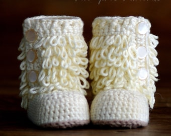 CROCHET PATTERN #200 - Baby Furrylicious Boots - Loopy Crochet Boots Instant Download kc550