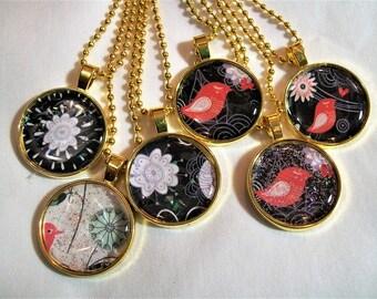 Pendent necklace,  pink bird necklace, summertime necklace, necklace set