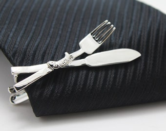 Tableware Tie Clip, Silver Accessories, Novelty Accessories, Gift For Man