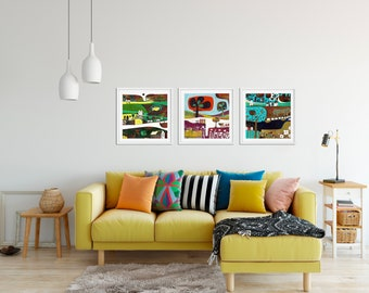 Living Room Wall Art Set of 3 Paintings Square Giclee Prints Set of 3 Paintings Gift for couple Set of 3 Art Prints Whimsical Landscape & Living room wall art | Etsy