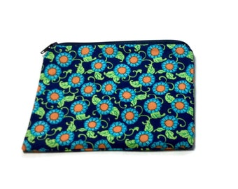 Reusable Snack Bag Zipper Orange Blue Green Floral