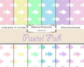 Fish Digital Paper, Pastel digital paper, Pet digital paper, digital scrapbook, fish background, Digital Background, fish patterned paper