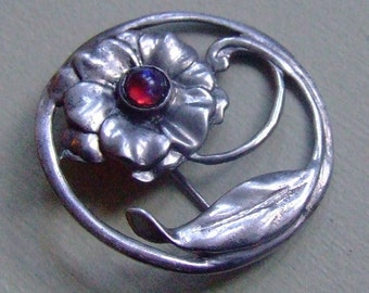 Vintage Solid Sterling Silver 9.3g Mexican Fire Opal Glass Dragons Breath Bezel Set Flower Pin Brooch