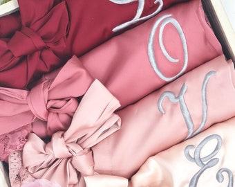 Satin Lace Bridesmaid Robes Set of 2, 3, 4, 5, 6, 7, 8, 9, 10, 11, 12 Bridesmaid Gift, Cotton Lace Robe, Getting Ready Robes, Bridal Party