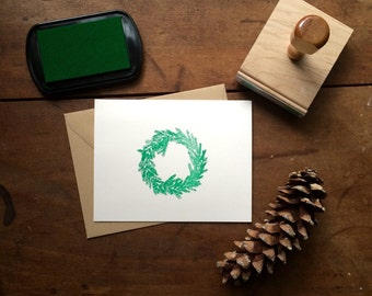 Christmas Wreath Stamp - DIY Christmas Card Holiday Hand Drawn Rubber Stamp Merry Christmas Happy Holidays Traditional Illustration