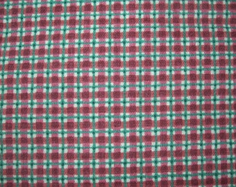 RED and GREEN PLAID Fabric  -  4 Yards
