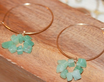 Beaded Hoop Earrings with green beads, Aventurine Hoop earrings, boho jewelry, Aventurine Hoop Earrings, Made in USA, Made in Vermont