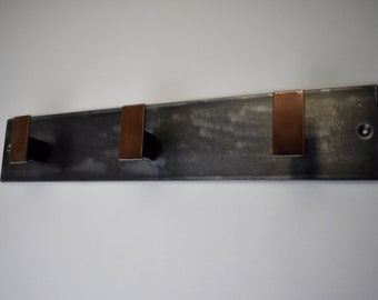 WALL MOUNT | Steel coat rack / hat rack / coat hooks / wall mounted coat rack / steel towel rack / industrial, modern, minimal
