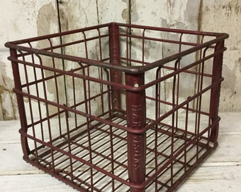 Vintage Metal Industrial Crate, Steel Milk Crate, Harbinson Milk Crate, Industrial Decor