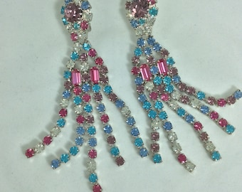 Glamorous Sparkly Vintage 1960's Clip-On Diamonte Strands Drop Earrings ... Original Vintage Sixties 60's