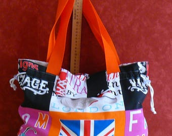 fabric bag/Tote English patterns, and sneakers, slide closure