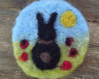 Little black bunny brooch with sunshine and poppies - Made to Order