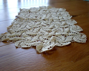 Antique Crocheted Doily - Grandmother - Table Runner - Old 1940's Keepsake - Off White - Toaster Cover - Unique Housewarming Gift - Collect