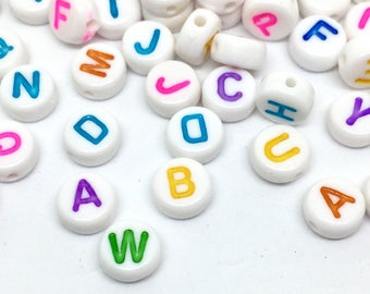 100 letters beads, 7 mm, white / colorful
