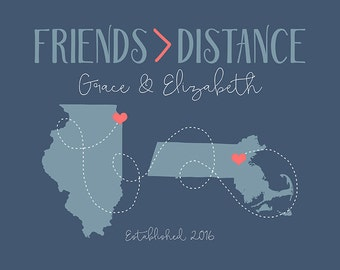 Friendship is Greater Than Distance, Long Distance Best Friend Gift -  Art Print, Gift for Friend Moving Away, Hometown Cities, Maps | WF374