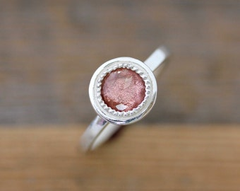 Oregon Sunstone Ring in Sterling Silver, Vintage Inspired Milgrain Detail Halo Ring