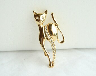 Vintage Cat Pin Brooch Goldtone Signed Giovanni Pin Rhinestones Uptown Kitty Figural Pin