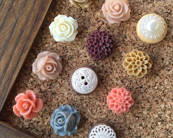 Pushpins,Fancy Push Pins,Floral Tacks,Rose Thumbtacks,Teacher Gifts End of Year,Gifts for Teenagers,Office Gifts,College Dorm Decor Girl