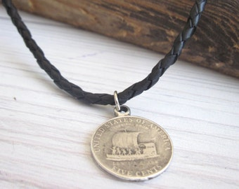 Men Leather Necklace - Men Coin Necklace - Men Necklace - Men Pendant - Men Jewelry - Men Gift - Jewelry For Him - Husband Gift - Boyfriend